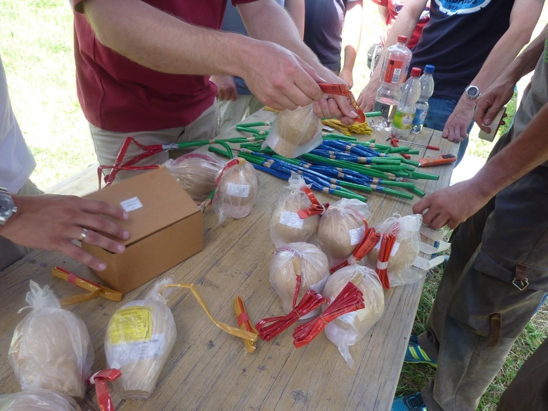 Viele große Feuerwerksbomben sind im Workshop pyrotechnisch zu verleiten