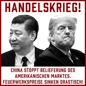 Feuerwerk wir durch den Handelskrieg zwischen USA und China immens billig